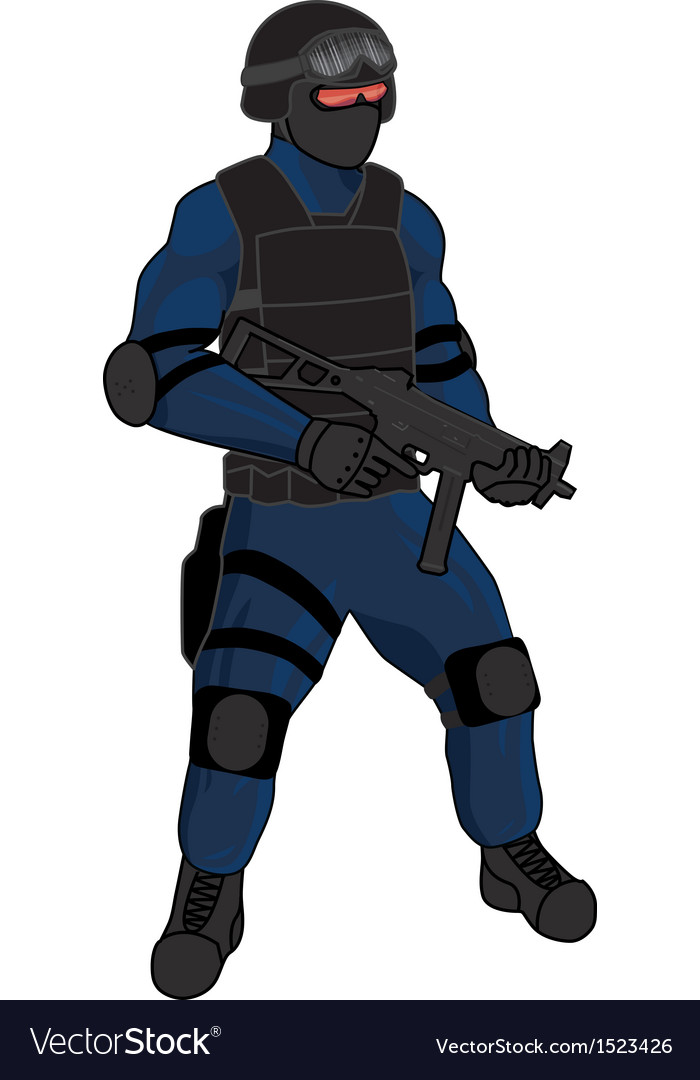 Swat team member preview ump blue vector image
