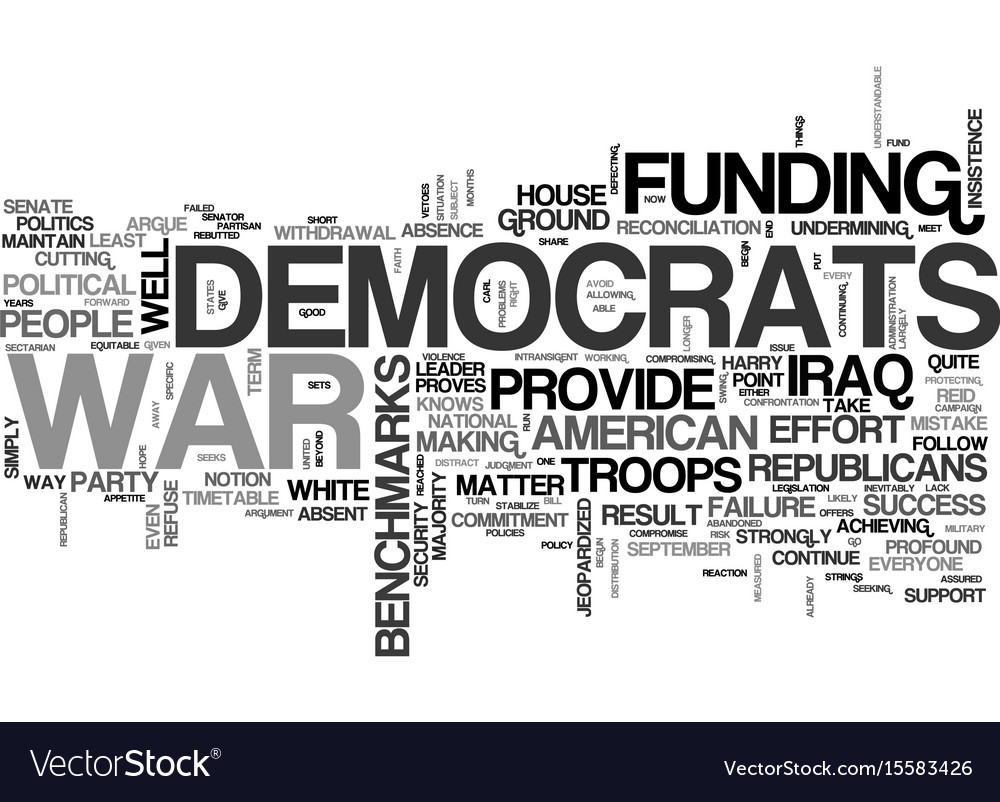 Why democrats should fund the war text word cloud vector image