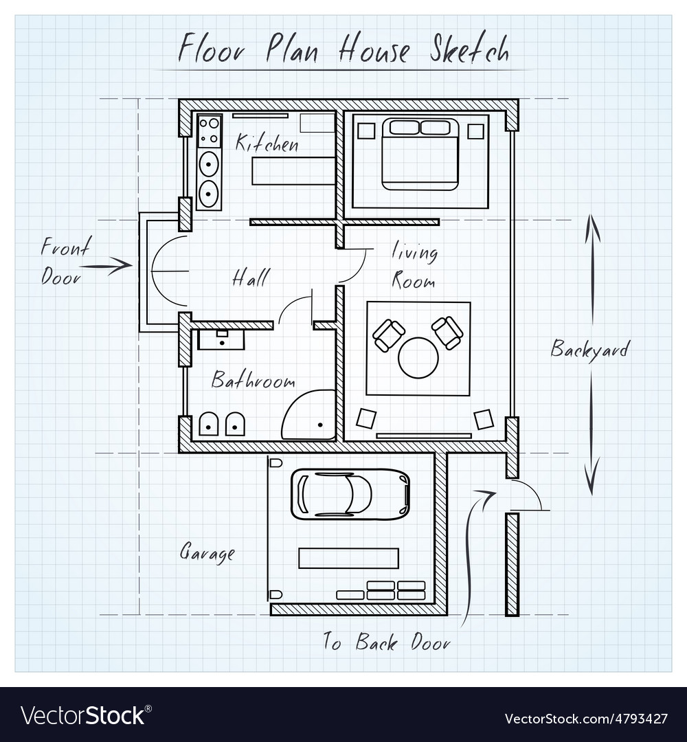 Floor plan house sketch Royalty Free Vector Image