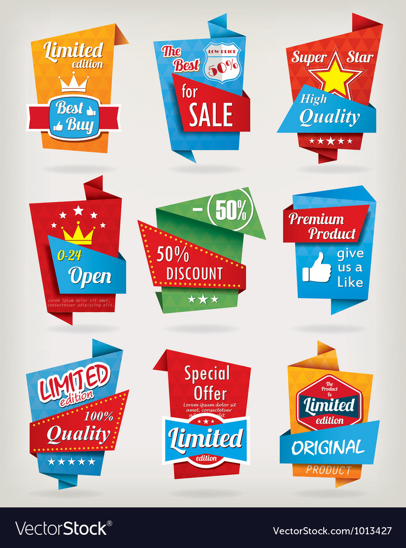Origami design label set vector image