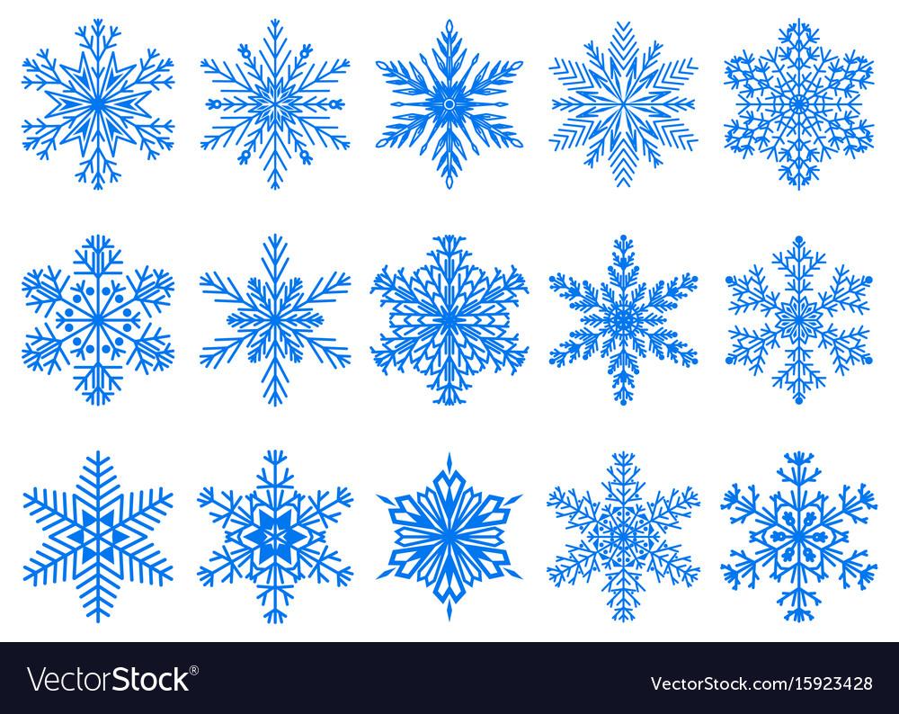 Set of christmas snowflakes vector image