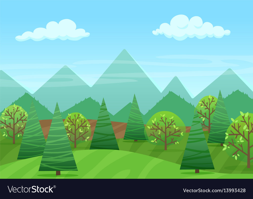 The peaceful green landscape with mountains and vector image