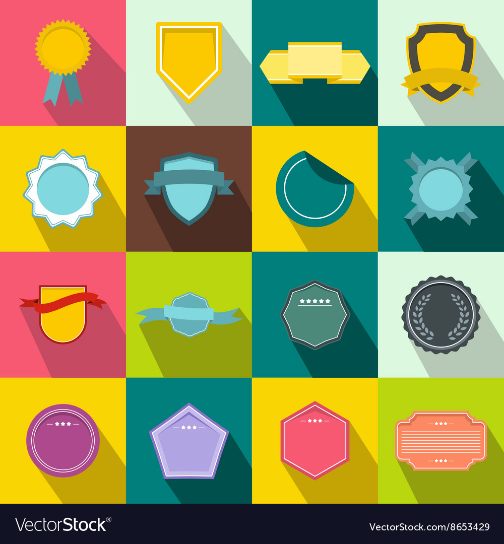 Badges icons set flat style vector image