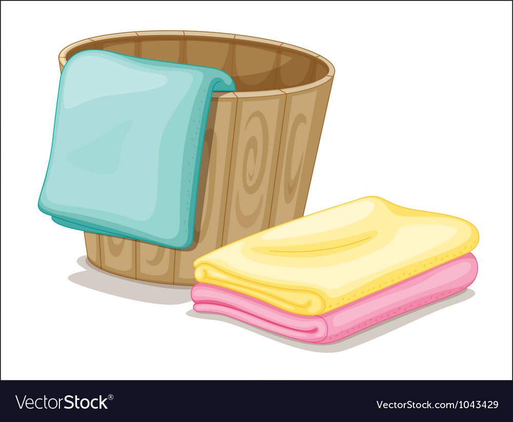 Bucket and towels vector image