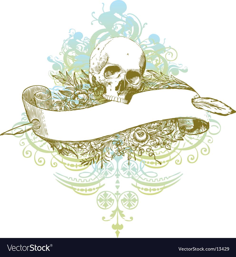 Skull banner grunge illustration vector image