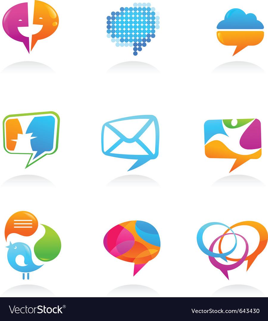 Social media and speech bubbles vector image