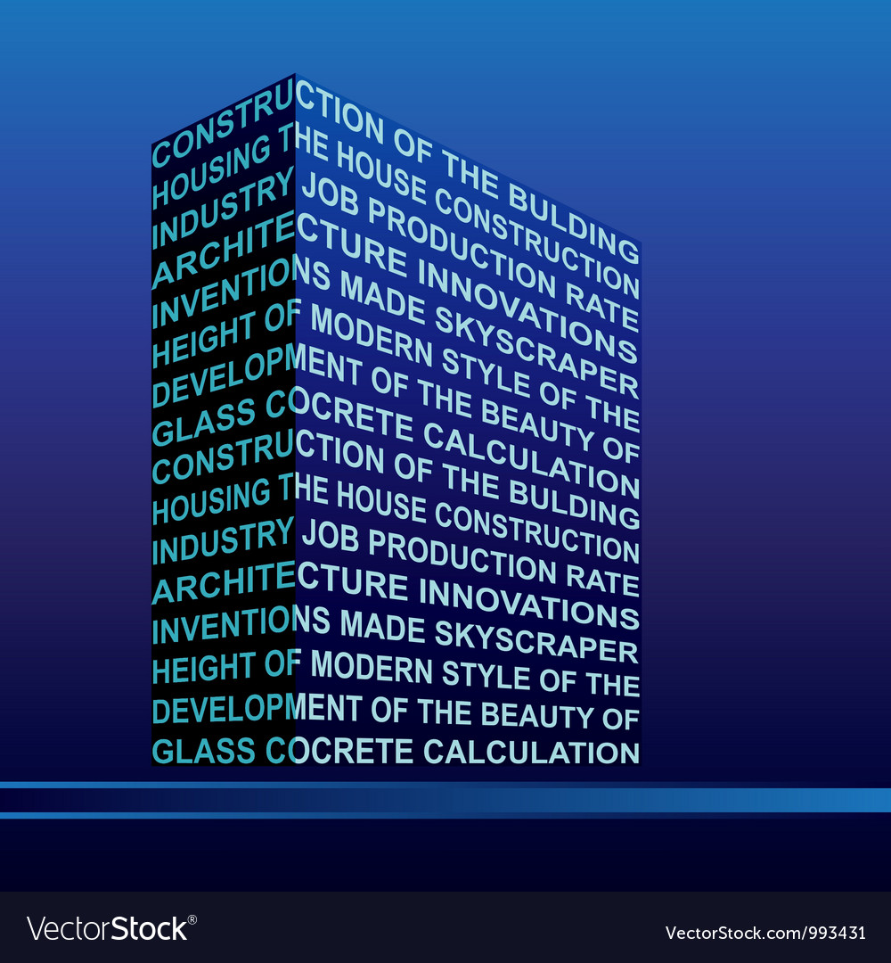 The stylised building built out of words vector image