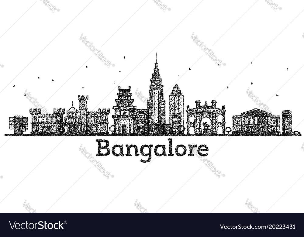 Engraved bangalore india city skyline with black vector image