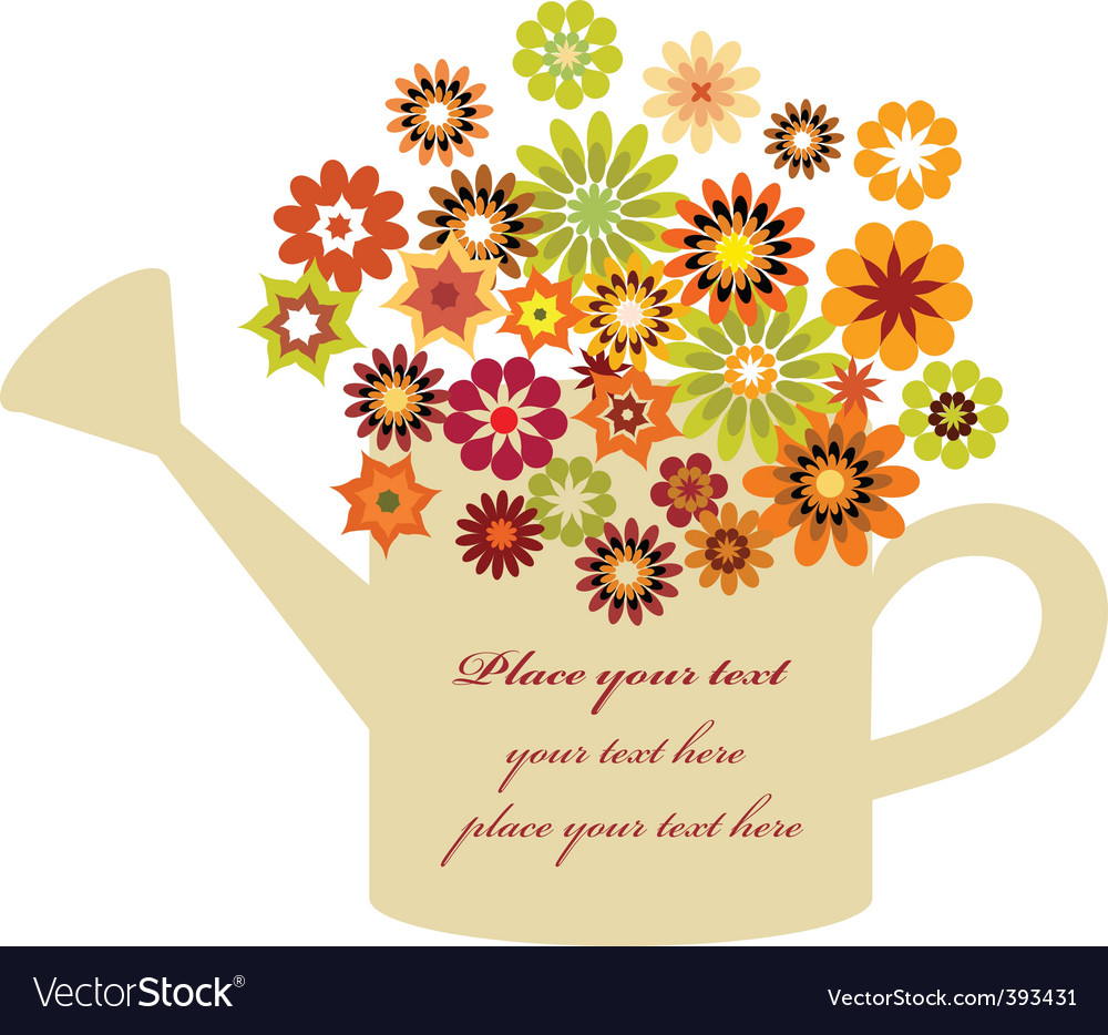 Flowers in watering can Royalty Free Vector Image