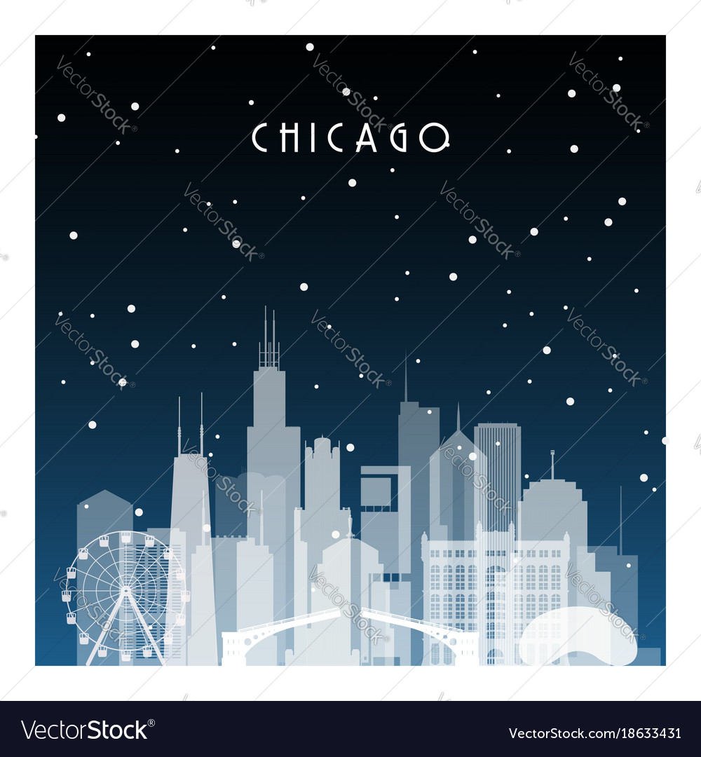 Winter night in chicago night city in flat style vector image
