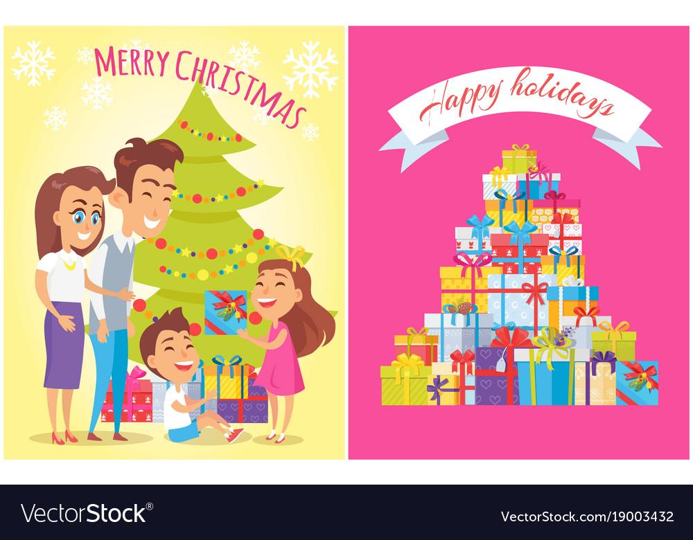 Merry christmas happy birthday vector image