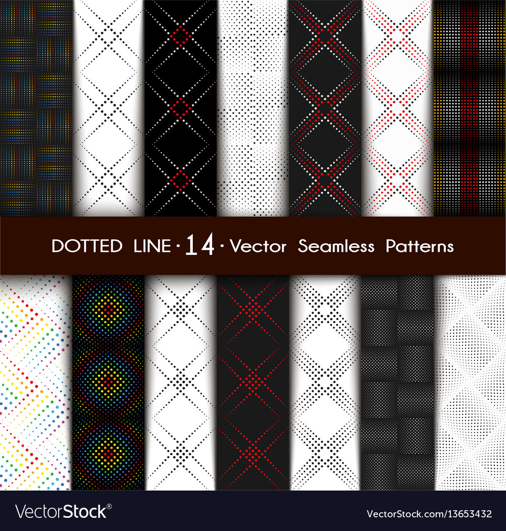 Set dotted line seamless patterns vector image