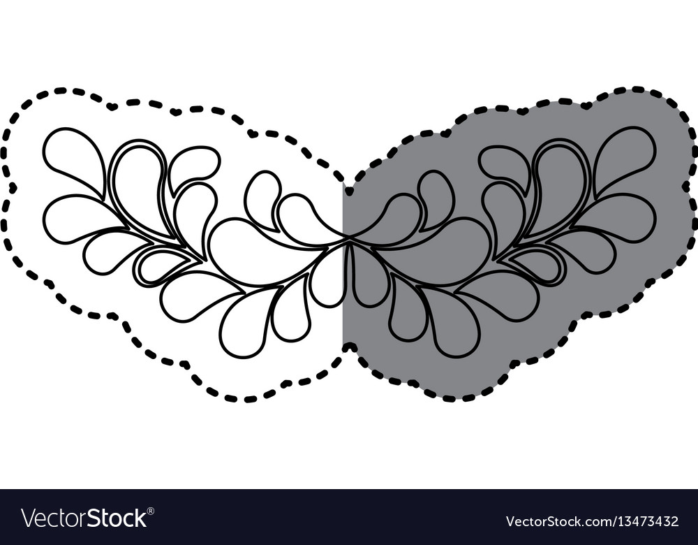 Sticker shading silhouette crown of leaves vector image