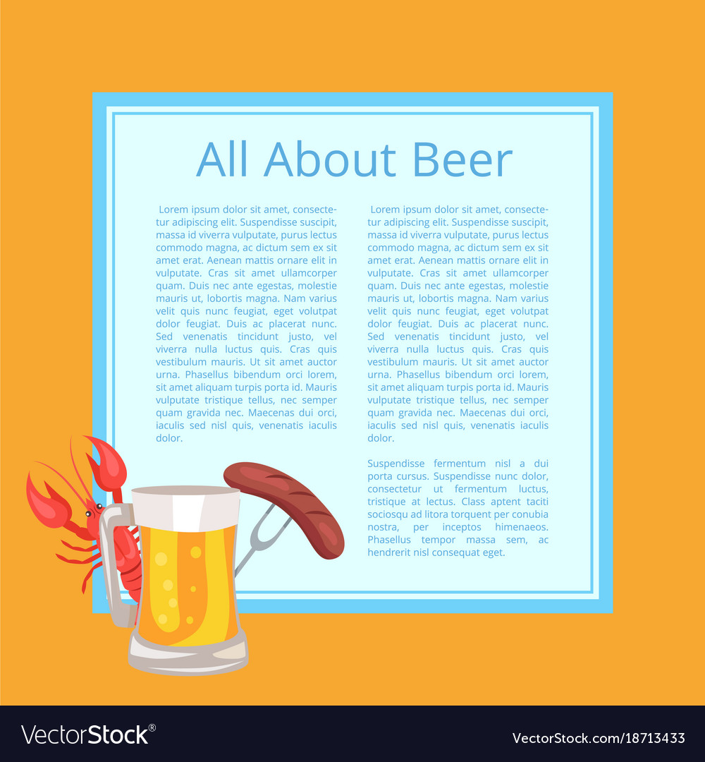All about beer poster with tasty food and drink vector image