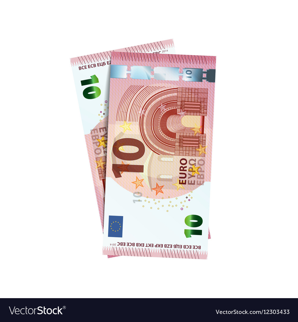 Couple of 10 euro banknotes on white vector image