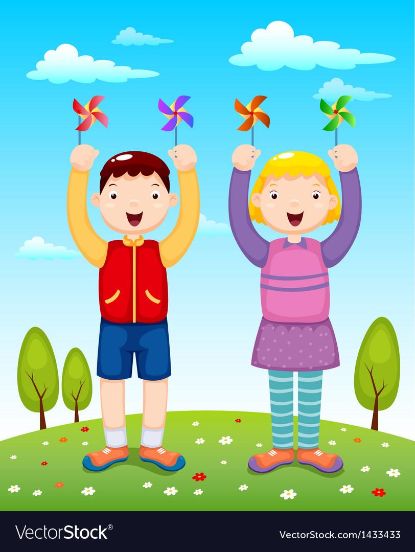 Kids playing wind wheel vector image