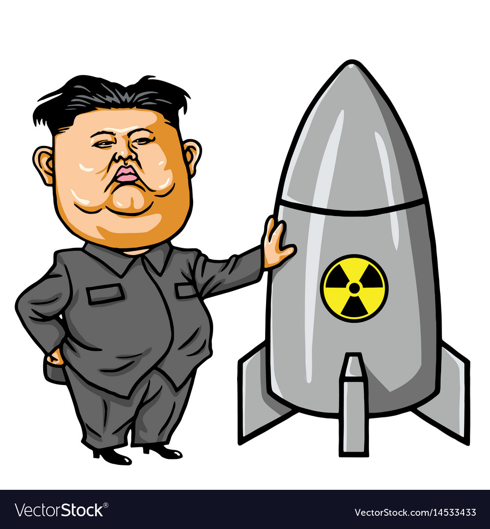 Kim joung-un with nuclear missile cartoon vector image