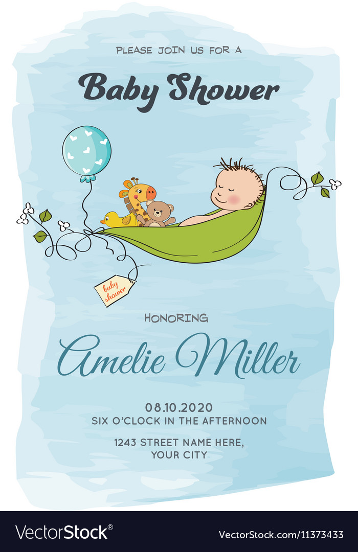 Lovely baby boy shower card vector image