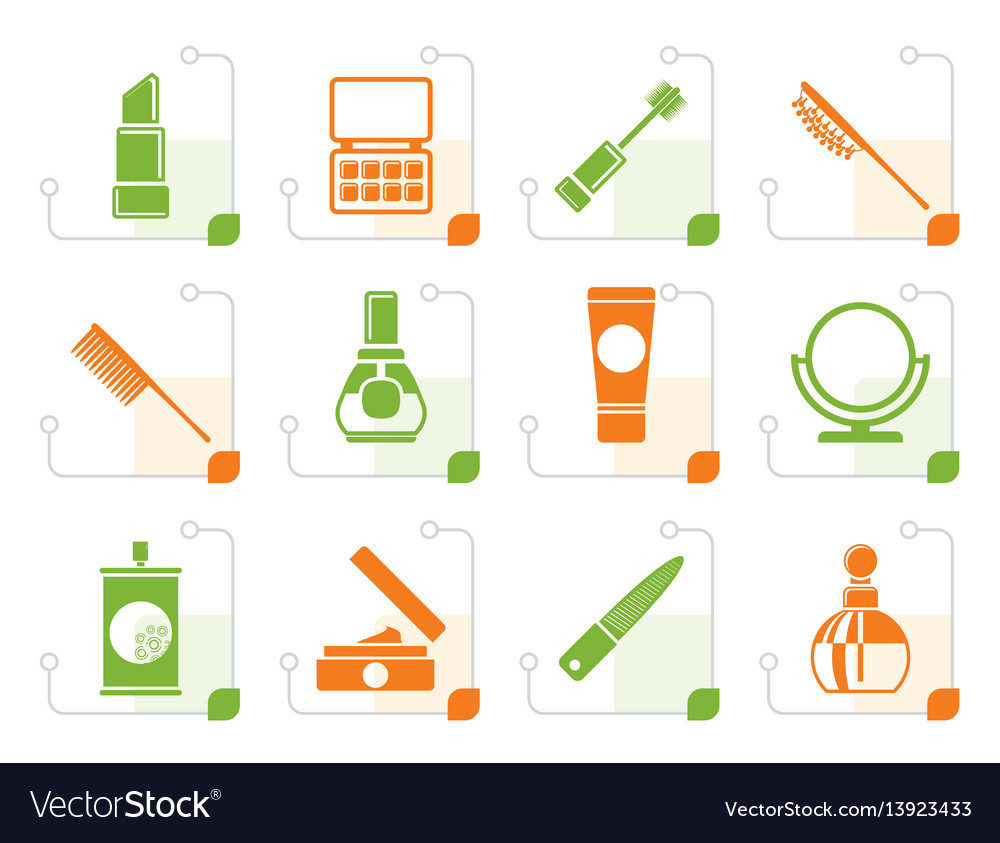 Stylized beauty cosmetic and make-up icons vector image