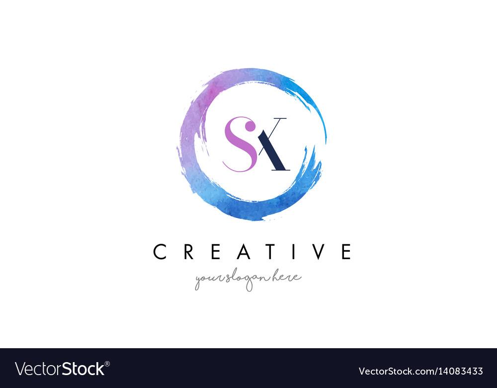 Sx letter logo circular purple splash brush vector image