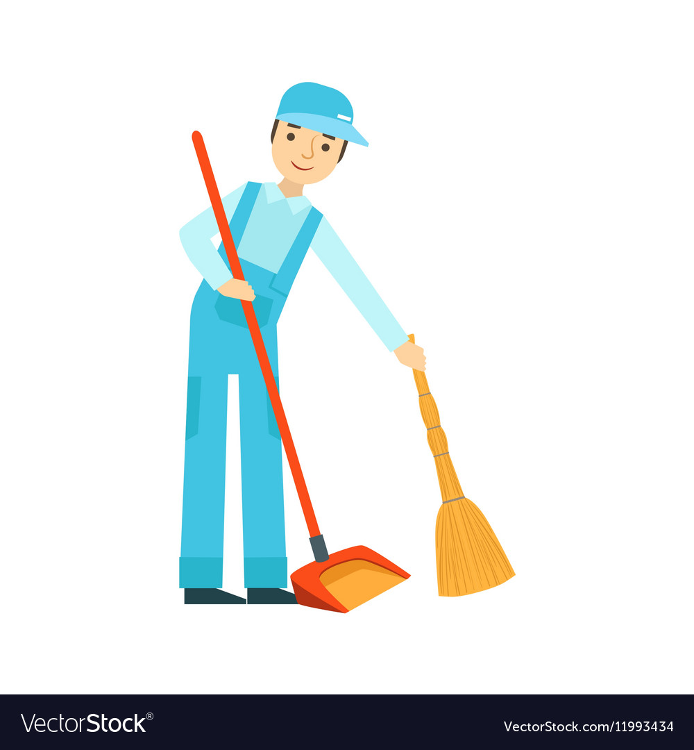 Man With Broom And Duster Sweeping The Floor Vector Image