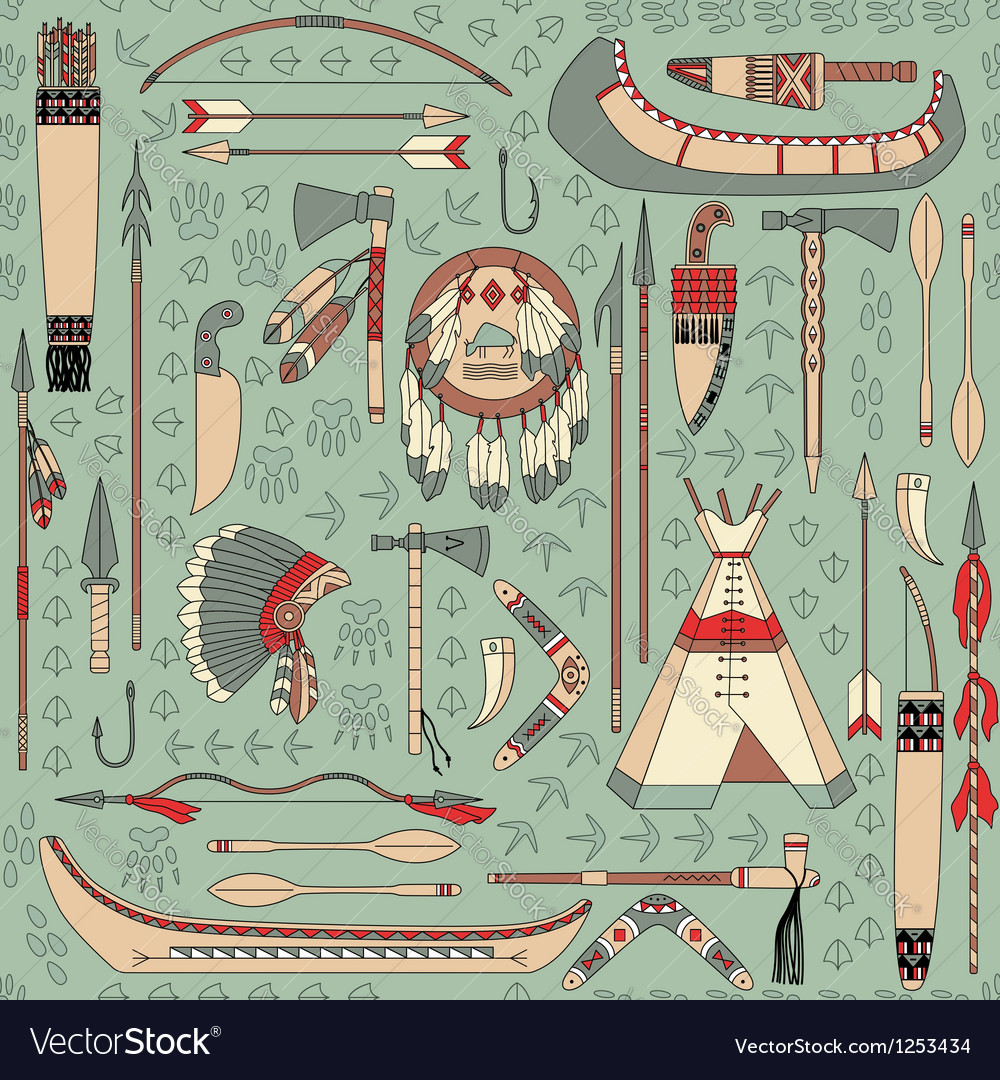 Seamless pattern with Native American attributes vector image