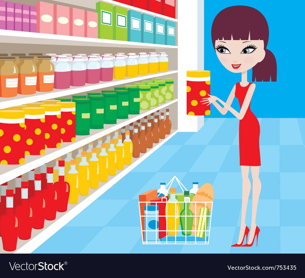 Woman cartoon in a supermarket Vector Image