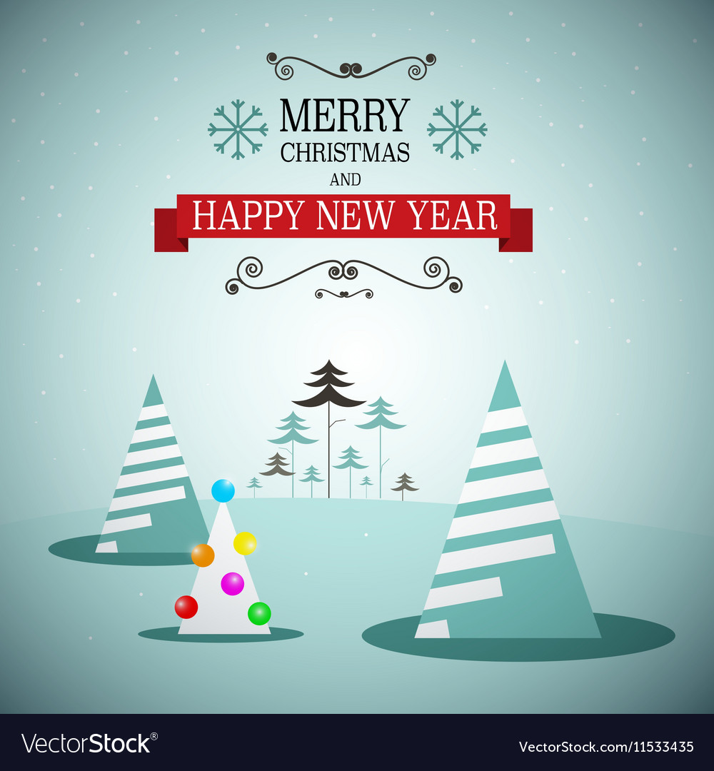 Merry Christmas and Happy New Year Winter vector image
