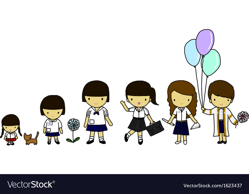 Thai student uniforms vector image
