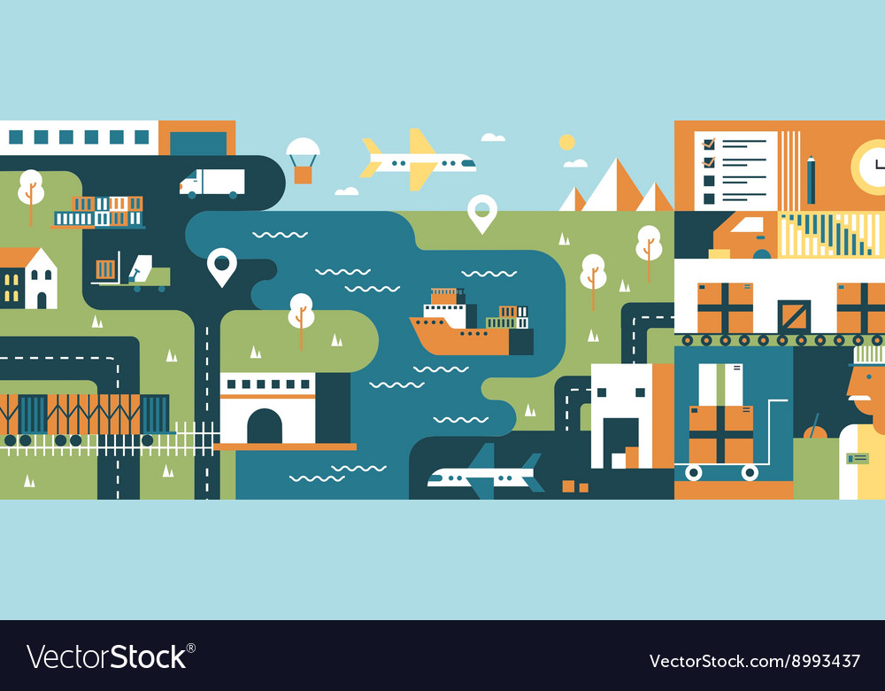 Transportation logistic background flat vector image