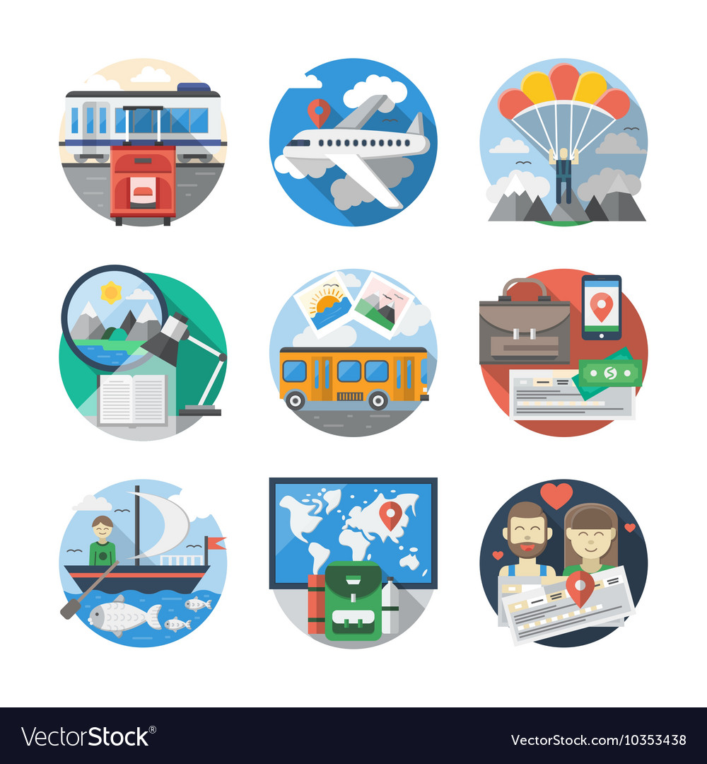 Journey and travelling color detailed icons vector image