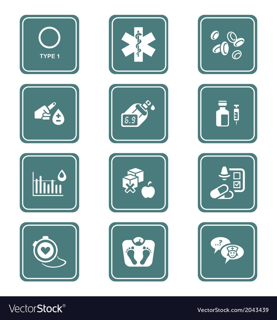 Diabetes set - Teal series vector image