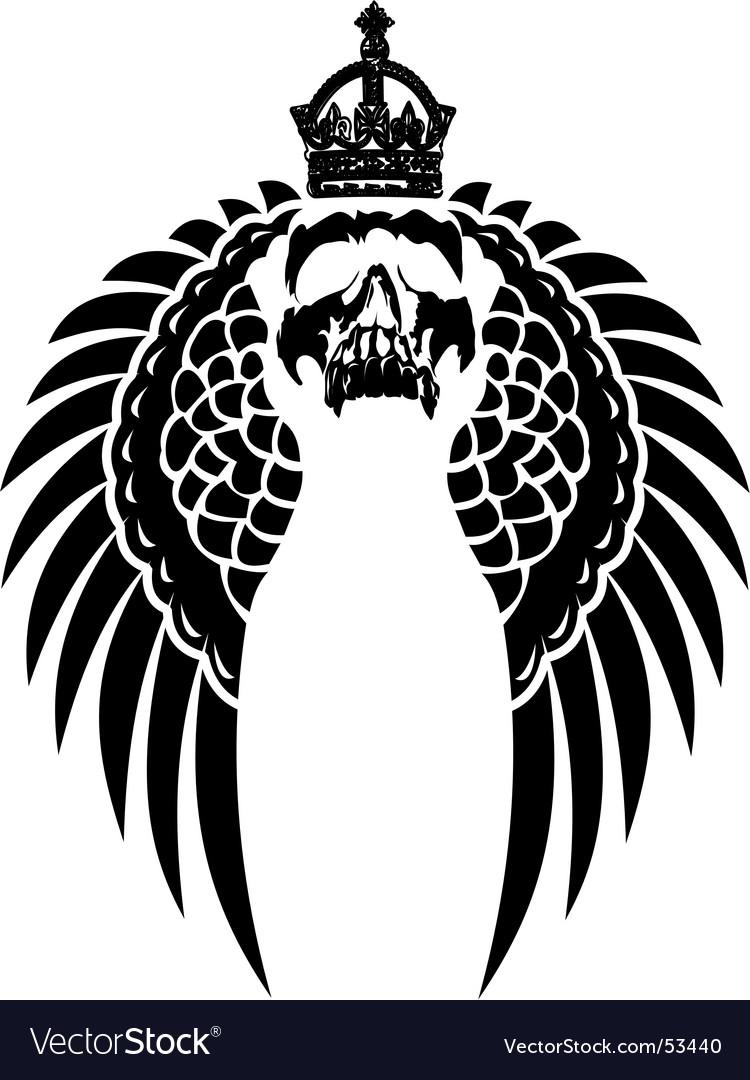 Crowned skull on wings vector image