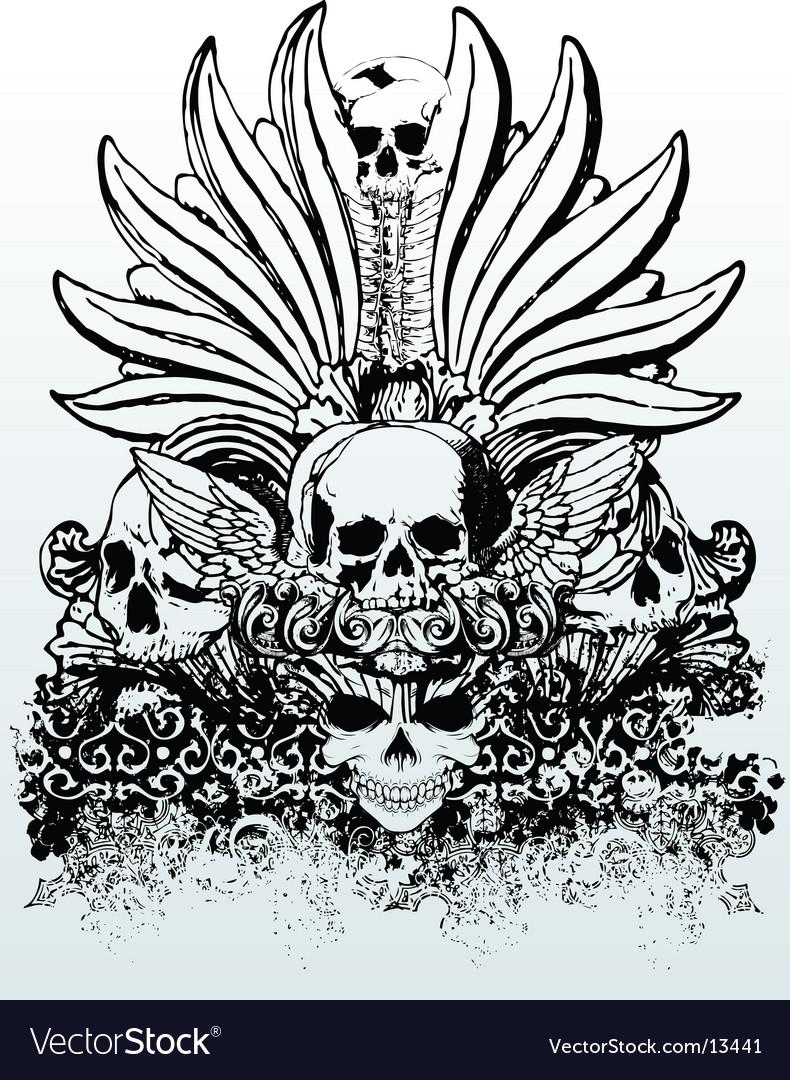 Tribal skull grunge illustration vector image