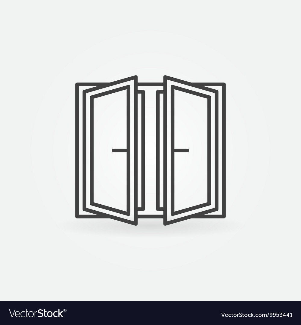 Wide open window icon vector image