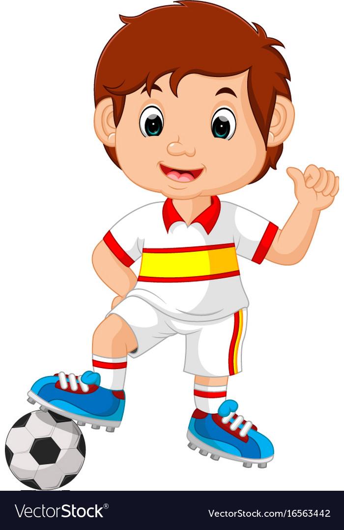 Cartoon child playing football vector image