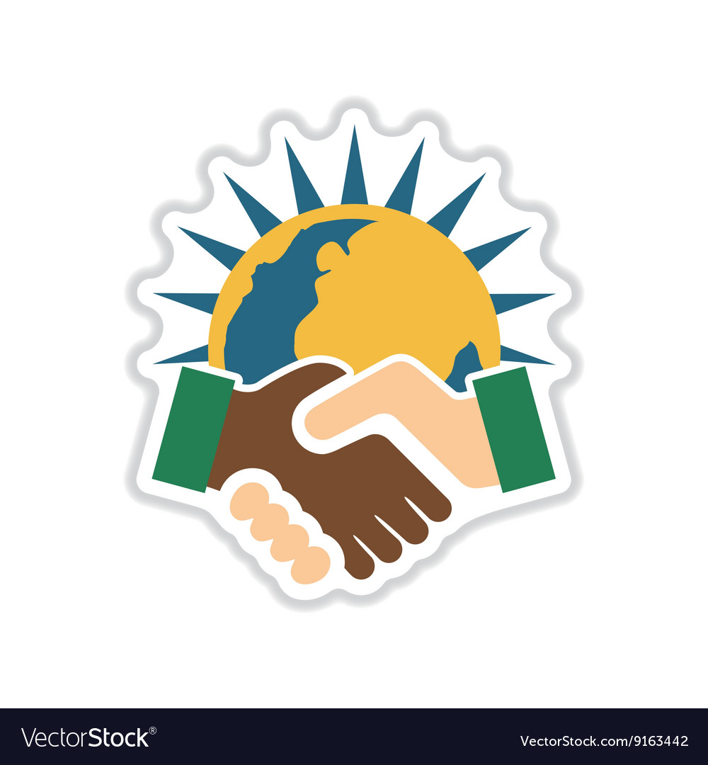 handshake on planet earth in flat stylesymbol of