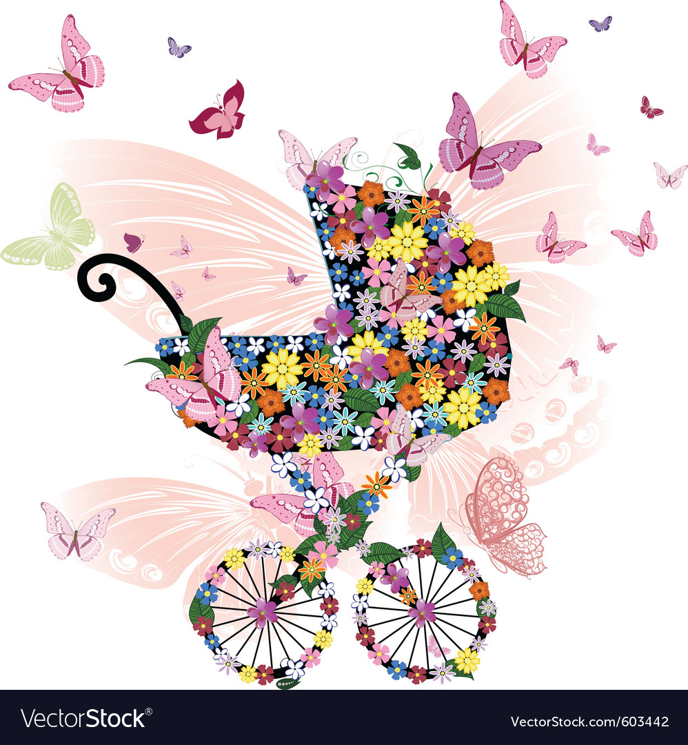 stroller of flowers and butterflies royalty free vector
