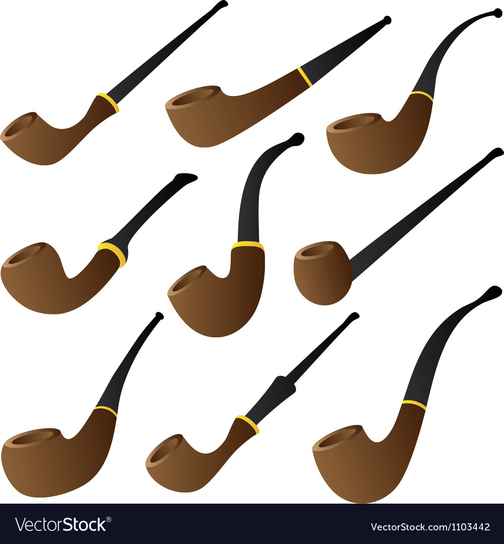 Tobacco pipe set vector image