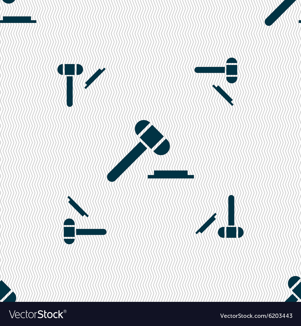 Judge hammer icon Seamless pattern with geometric vector image