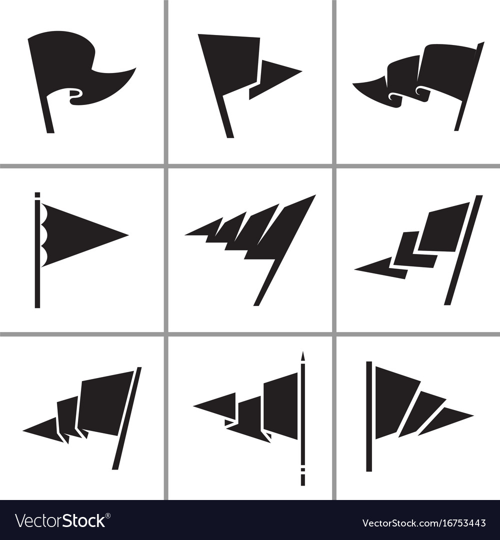 Triangle flag icons set vector image