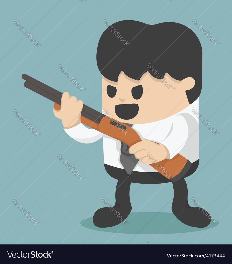 Businessman holding a gun vector image