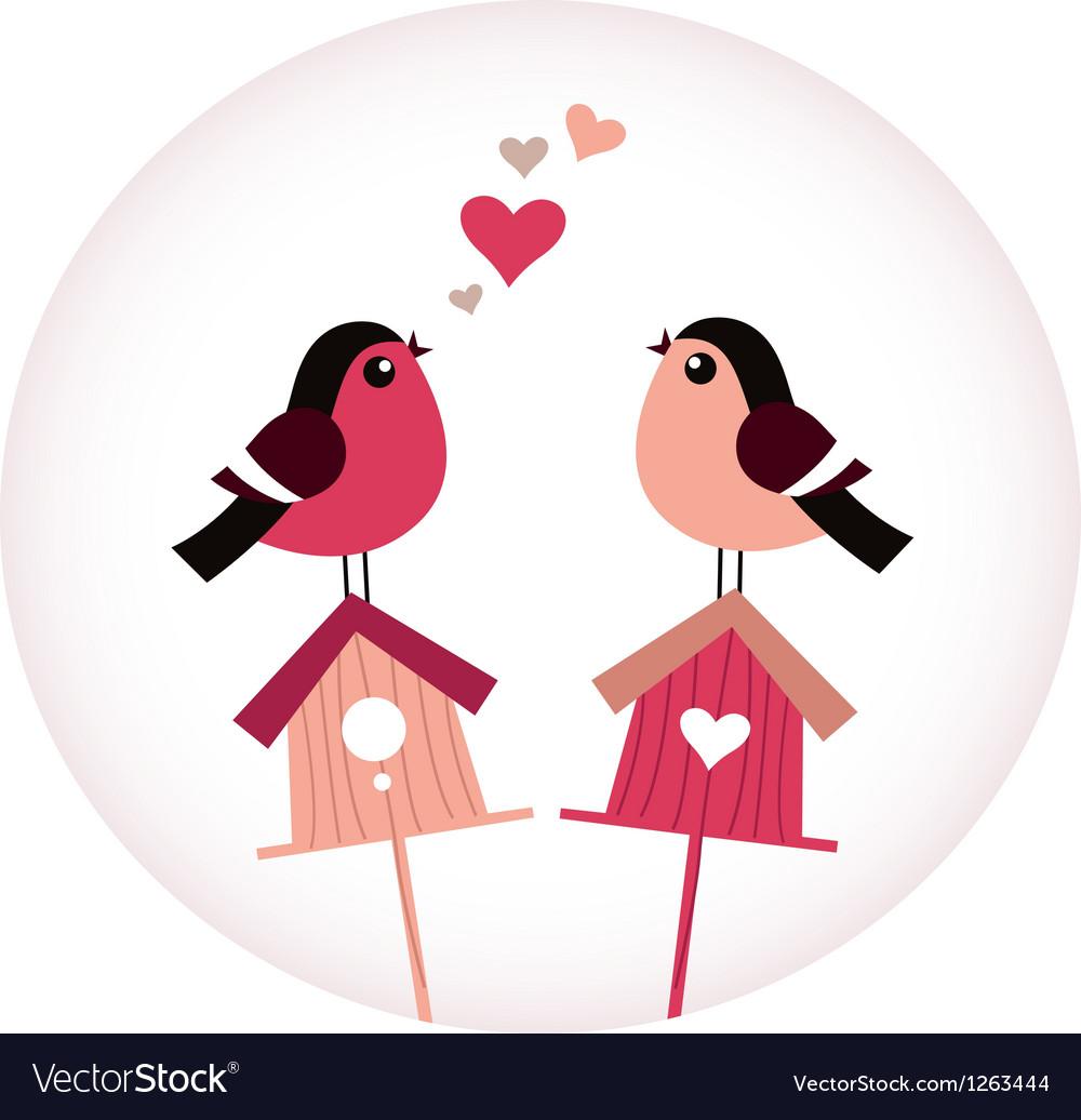 Cute Birds in love sitting on Birdhouses - retro vector image