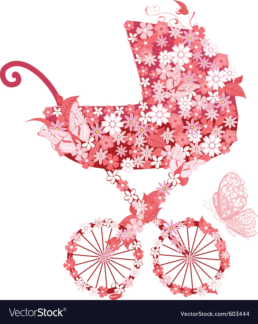 Stroller of flowers for girls vector image