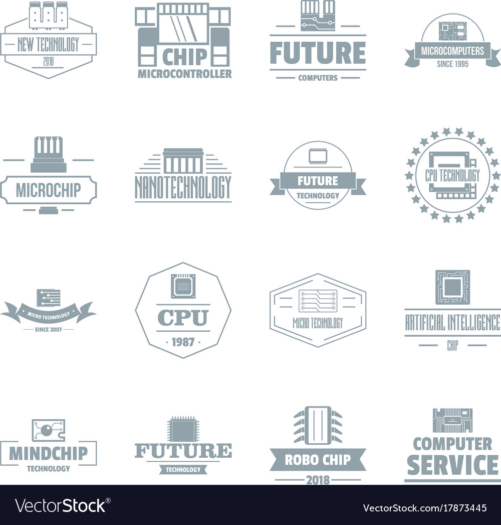 Future computer logo icons set simple style vector image