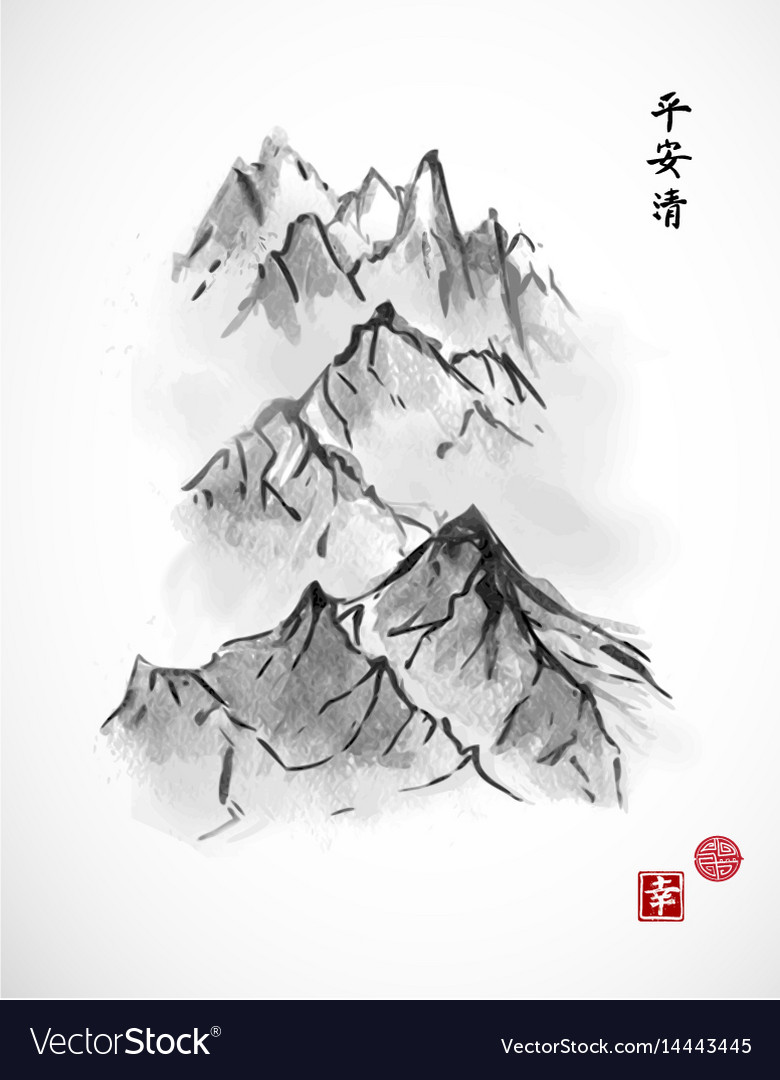 Mountain range in fog hand drawn with ink on white vector image