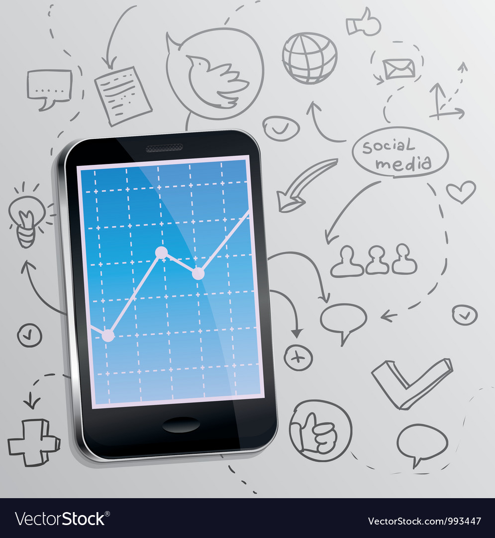 Mobile phone with social media concept Vector Image