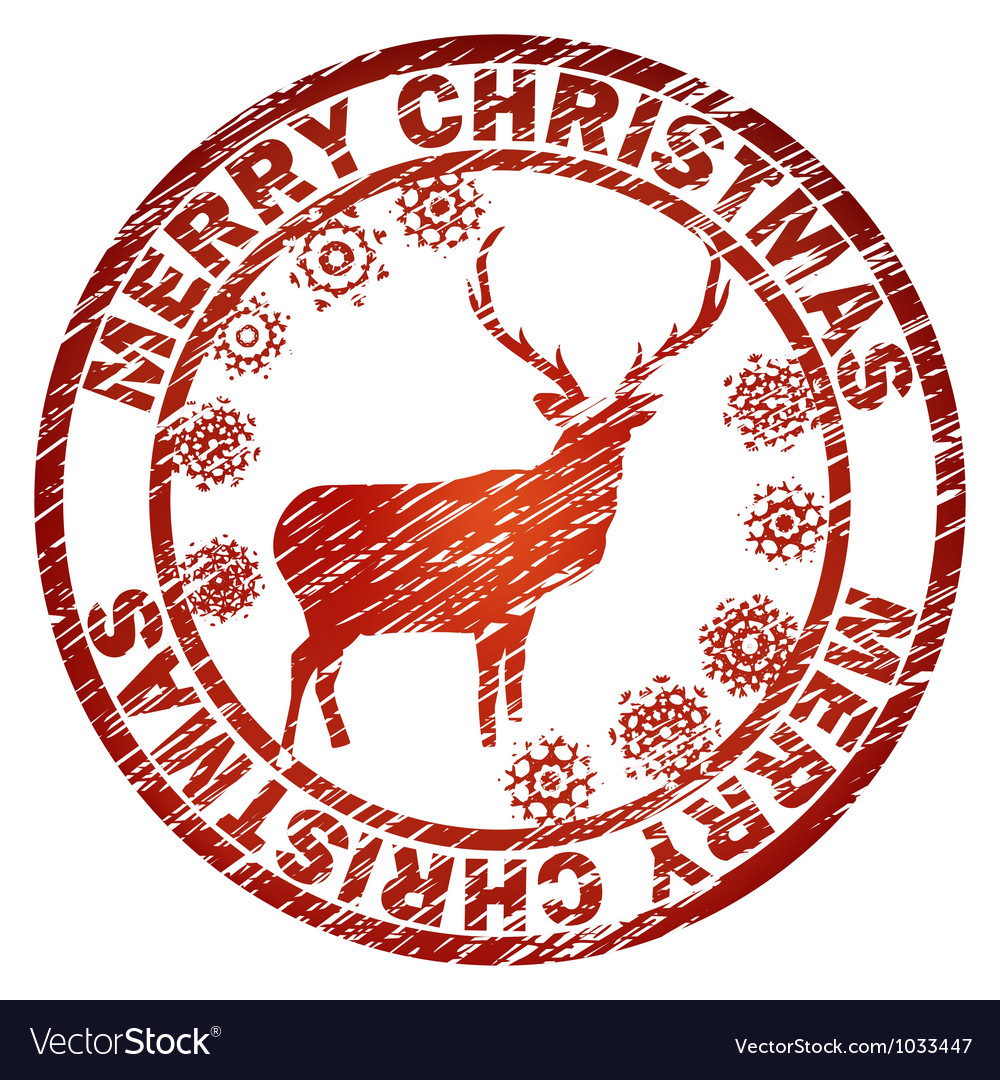 Christmas Deer Stamp Template Vector Image