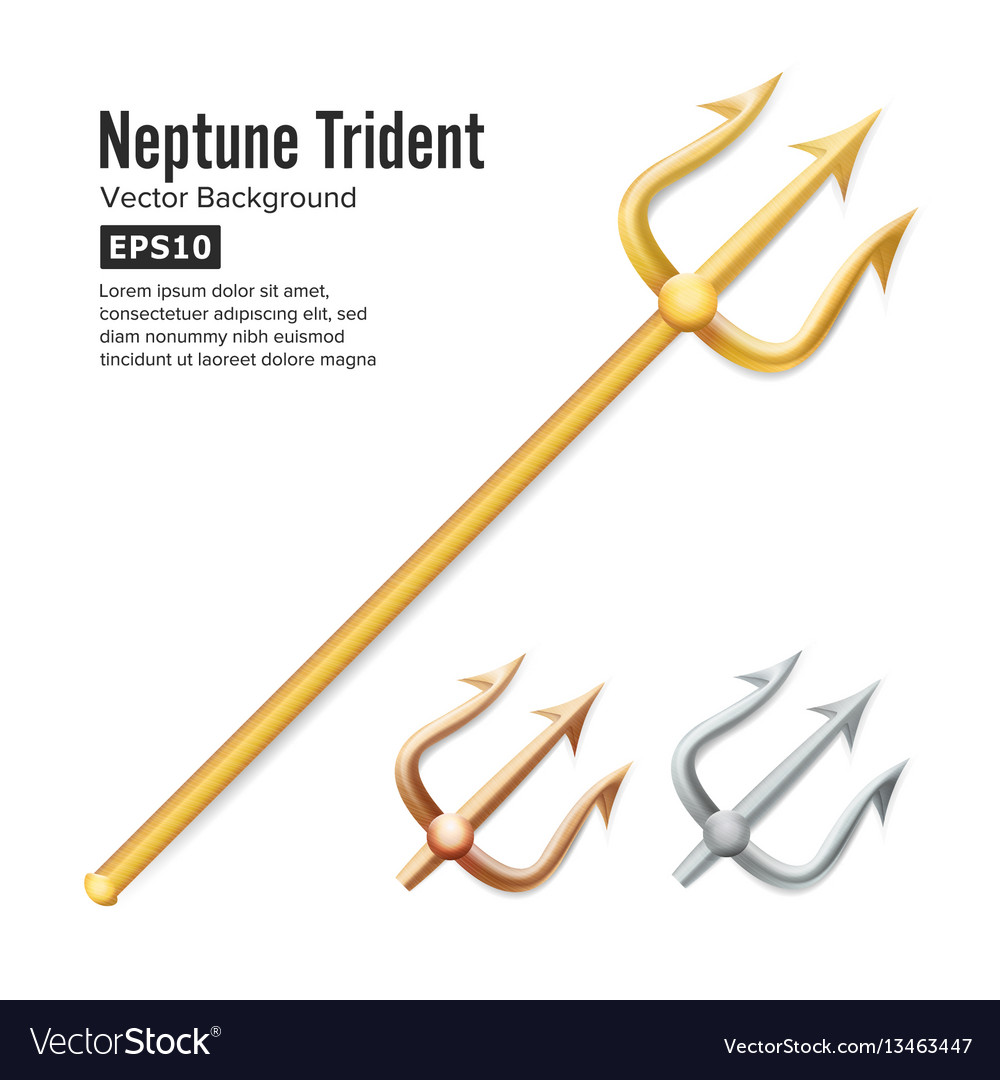 Neptune trident realistic 3d silhouette of vector image