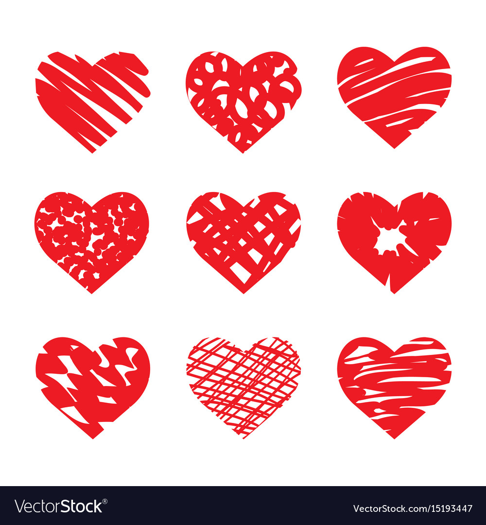 Set of hand drawn hearts red color vector image